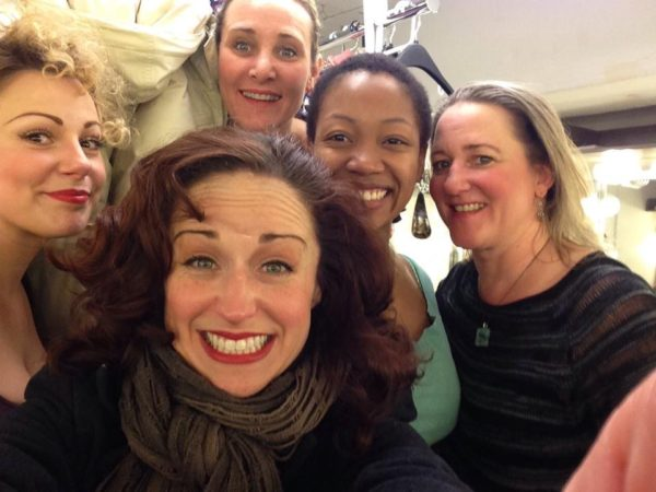 The Merry Wives of Windsor. Backstage. Angela Ingersoll, Heidi Kettenring, Amy Montgomery, Tiffany Yvonne Cox, Kelli Fox. Chicago Shakespeare Theater.