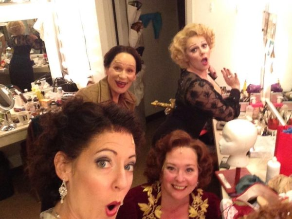 The Game's Afoot. Backstage. Tempe Thomas, Wendy Robie, Kathy Logelin, Angela Ingersoll. Drury Lane Theatre.