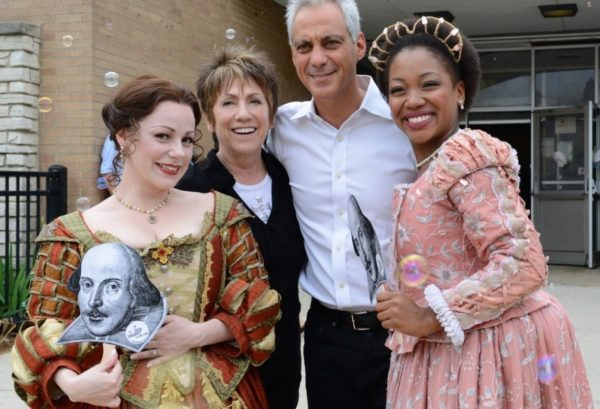Chicago Shakespeare in the Parks. Angela Ingersoll, Barbara Gaines, Mayor Rahm Emanuel, Tiffany Yvonne Cox.