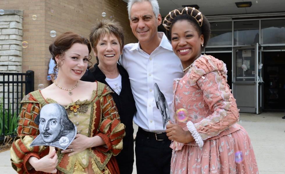 Chicago Shakespeare in the Parks. Angela Ingersoll, Barbra Gaines, Mayor Rahm Emanuel, Tiffany Yvonne Cox.