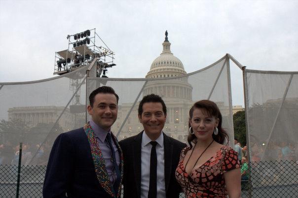 PBS Capitol Fourth Filming. Michael Ingersoll, Michael Feinstein, Angela Ingersoll. Washington DC.